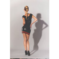 Latex Mini Dress With Red Detail