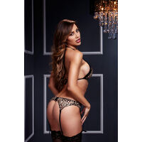 Lace Bra Top Garter And Panty Leopard Set