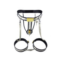 Chastity Belt And Chained Thigh Cuffs Set